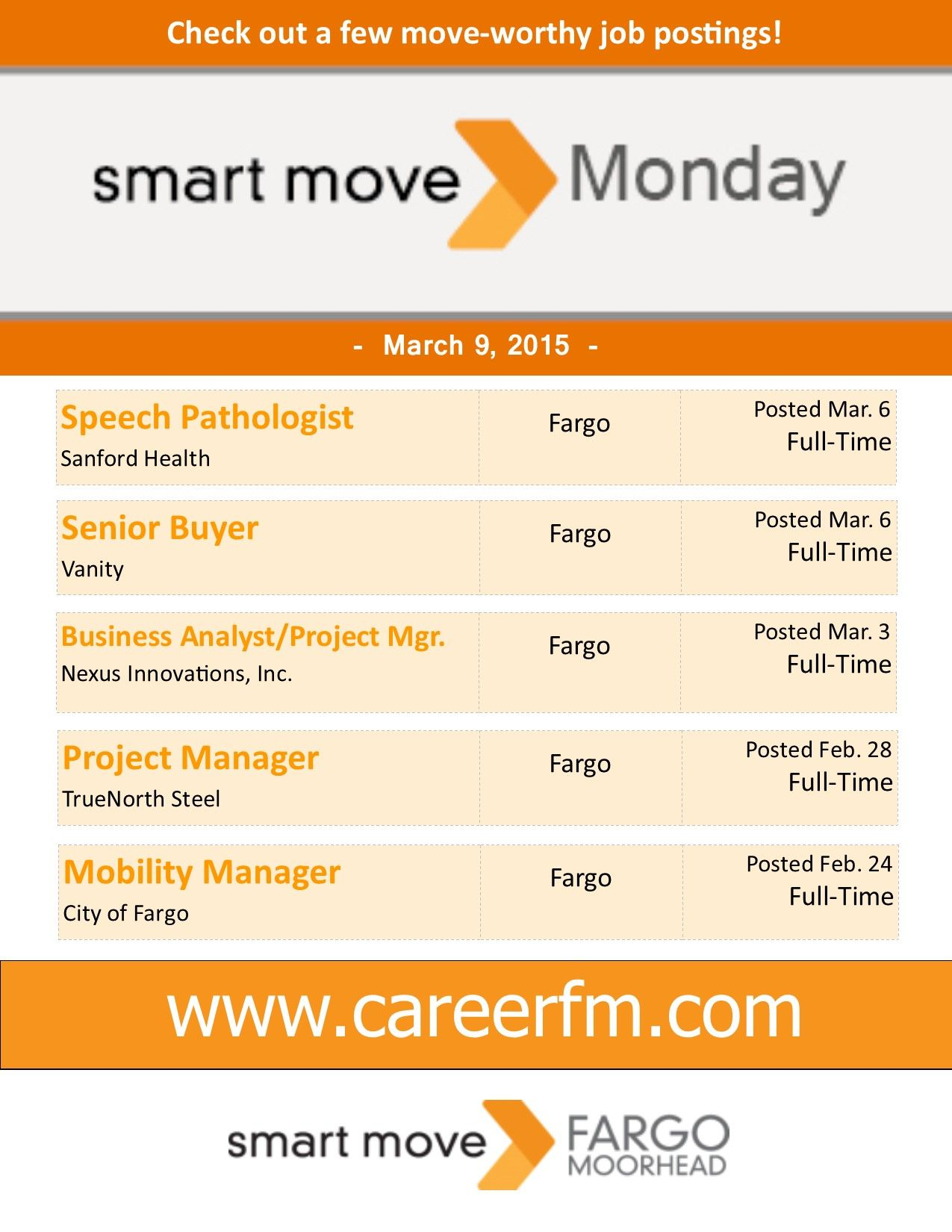 Here are your smartmovemonday job listings for march 9