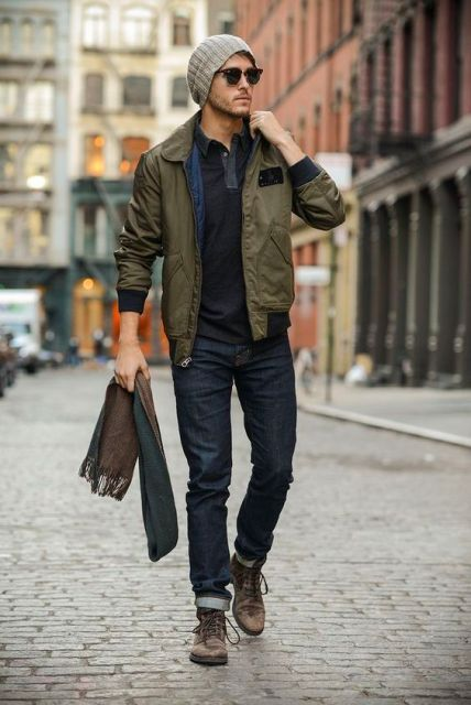 With beanie, cuffed jeans and brown boots in 2019