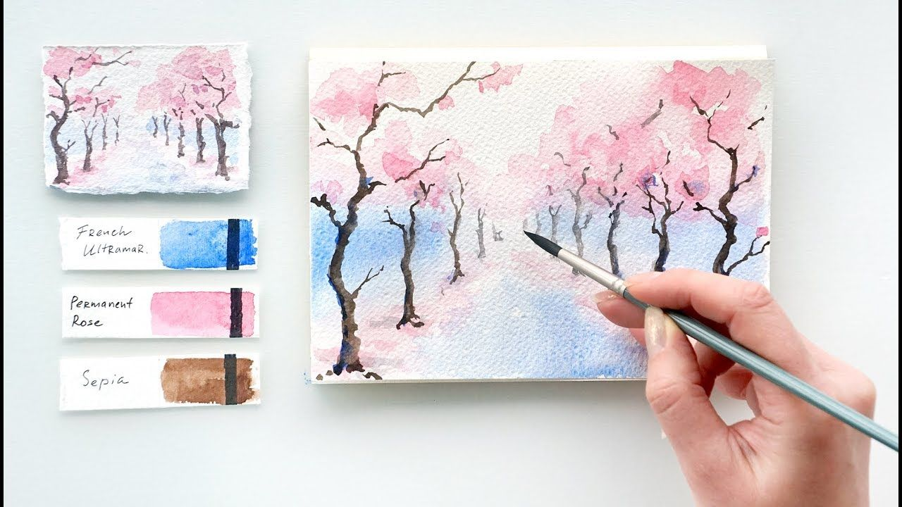 Cherry Blossom Alley Easy Watercolor Tutorial Youtube Cherry