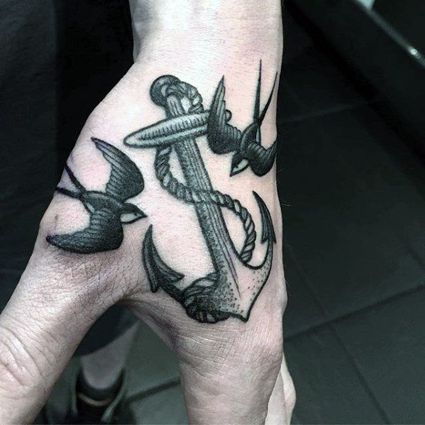 Anchor With Swallows Small Guys Traditional Hand Tattoo