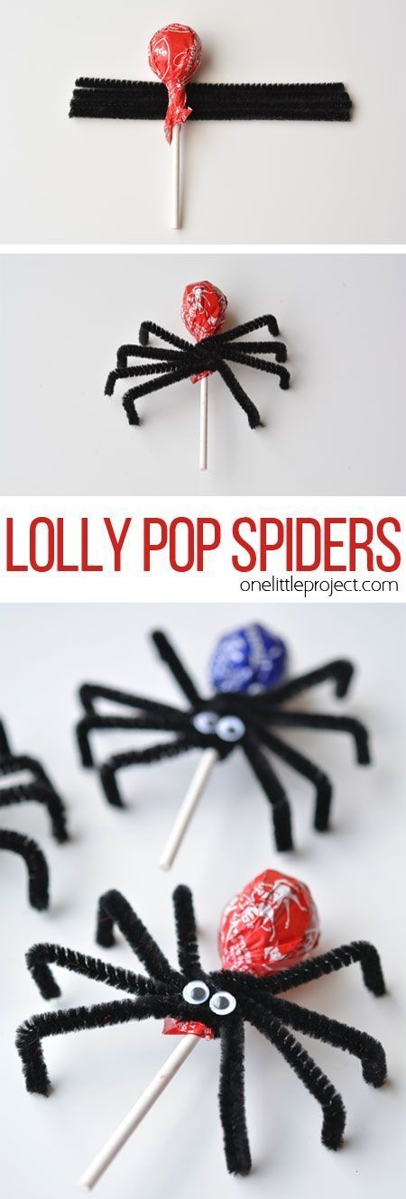 These lolly pop spiders are SO SIMPLE and look adorably creepy! They'd make great party favours or a fantastic treat to send to school on Halloween!