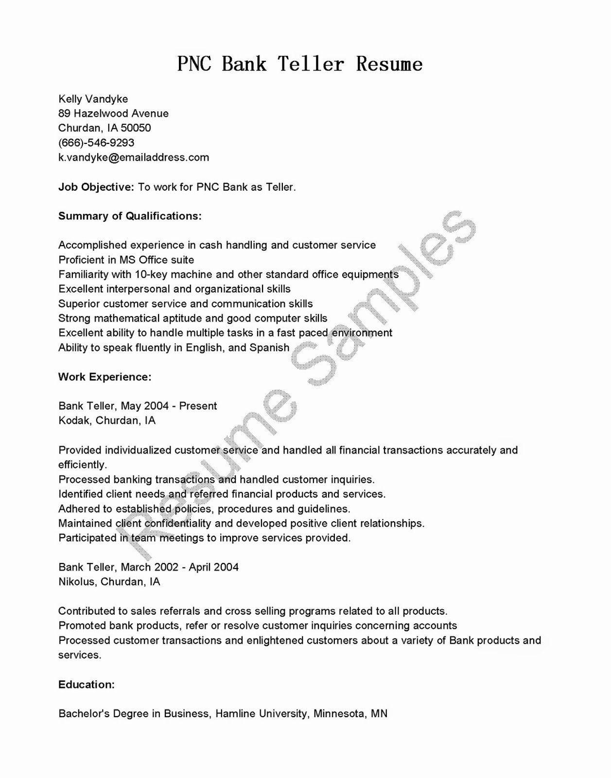 Bank Teller Resume Description Luxury Resume Samples Pnc Bank