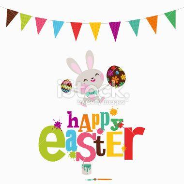 Happy Easter party bunny eggs paint rabbit illustration vector Royalty Free Stock Vector Art Illustration