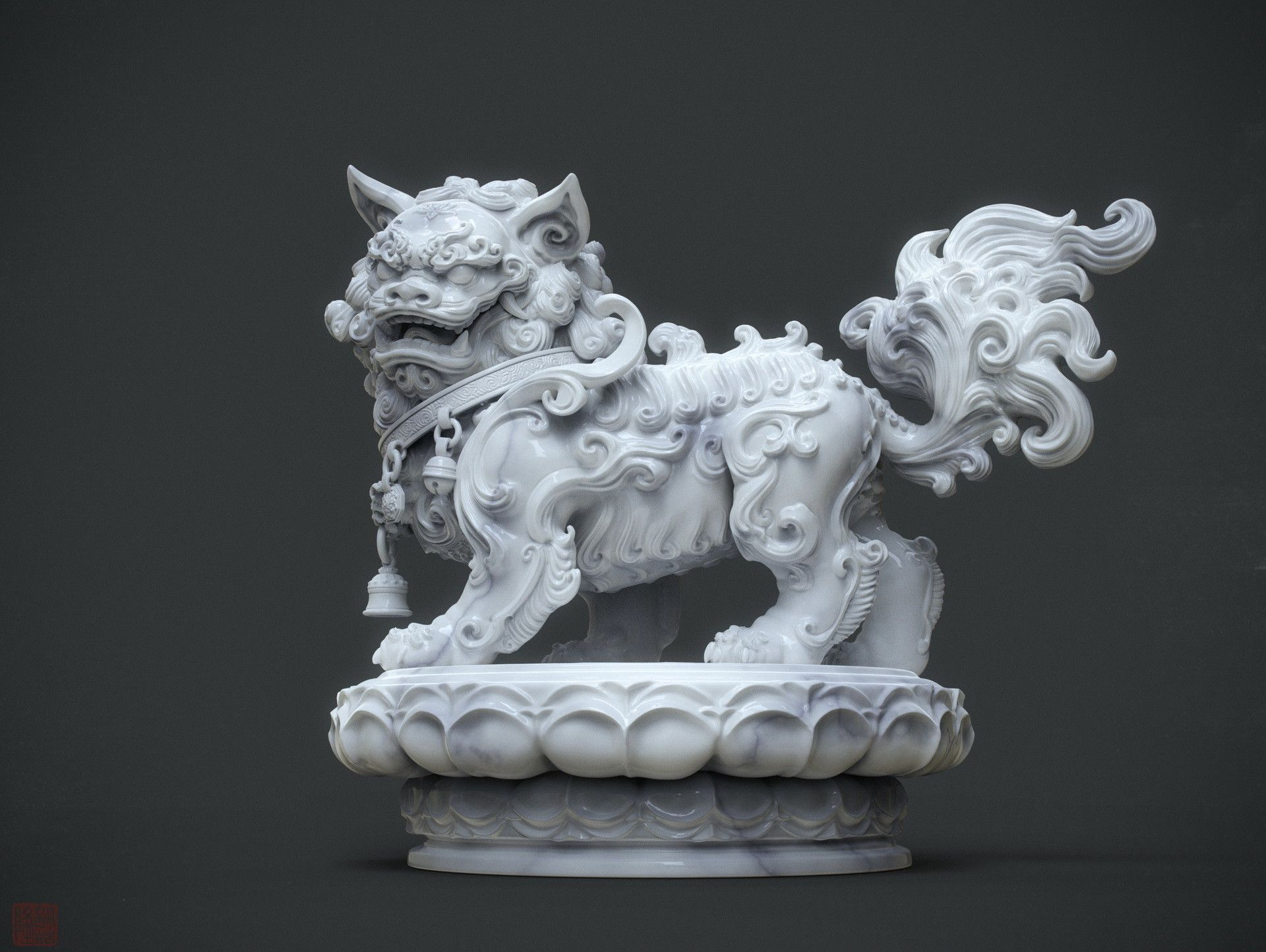 Artstation Chinese Lion Statue Marble Version And W I P Zhelong Xu Chinese Lion Statue Foo Dog Statue Dragon Sculpture