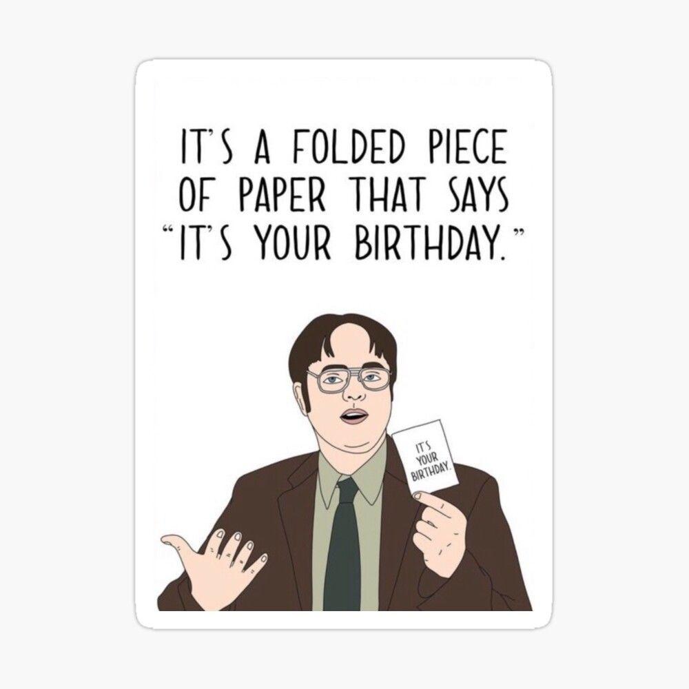 The Office Birthday Card Sticker By Hala Office Birthday Office Cards Birthday Cards