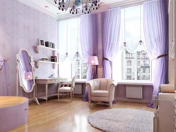 Soft Purple Living Room Home Decor With