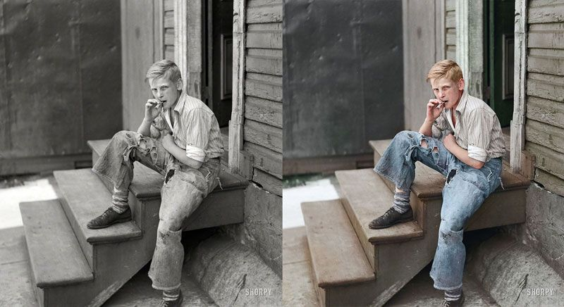 Young boy in baltimore slum area july 1938 original photograph by john vachon colorized by jordan j lloyd photojacker on reddit photo chopshop on