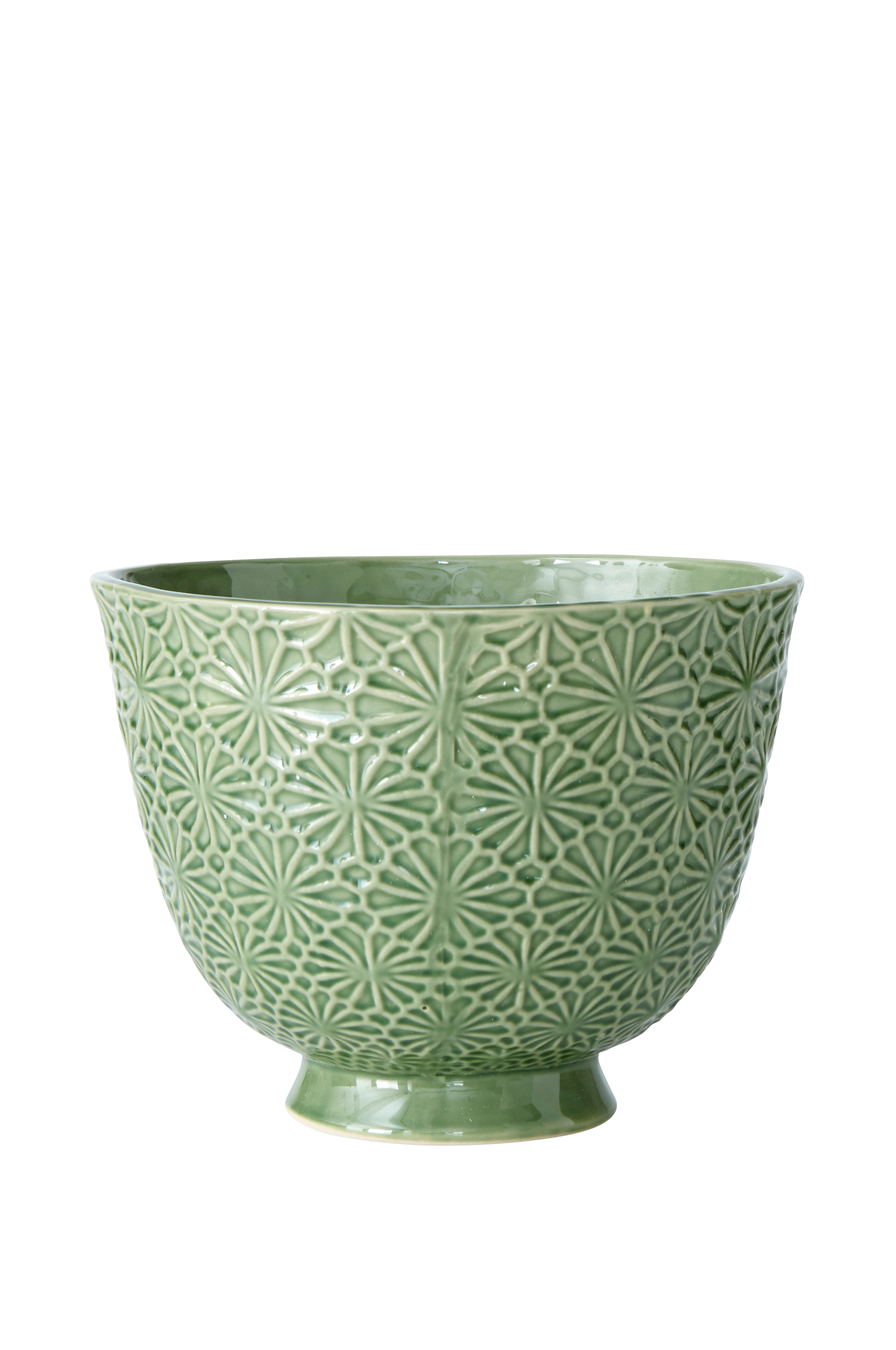 Krukke på fod. Af glaseret keramik med reliefmønster. Ø toppen 24 cm. Højde 18 cm. Små variationer i farve og størrelse kan forekomme.