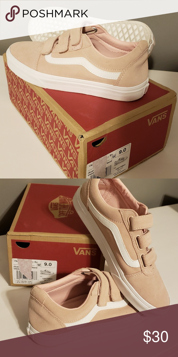 c8dc950b64 Light Pink   Nude Velcro VANS Women s 9 Worn once. Box included. Light pink  in color. Women s 9 Men s 7.5. Smoke and pet free home Vans Shoes Athletic  Shoes