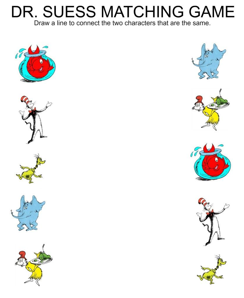Free Printable Matching Worksheets Dr Suess Stars Butterflies Jenny At Dapperhouse Seuss Crafts Dr Seuss Preschool Activities Dr Seuss Preschool