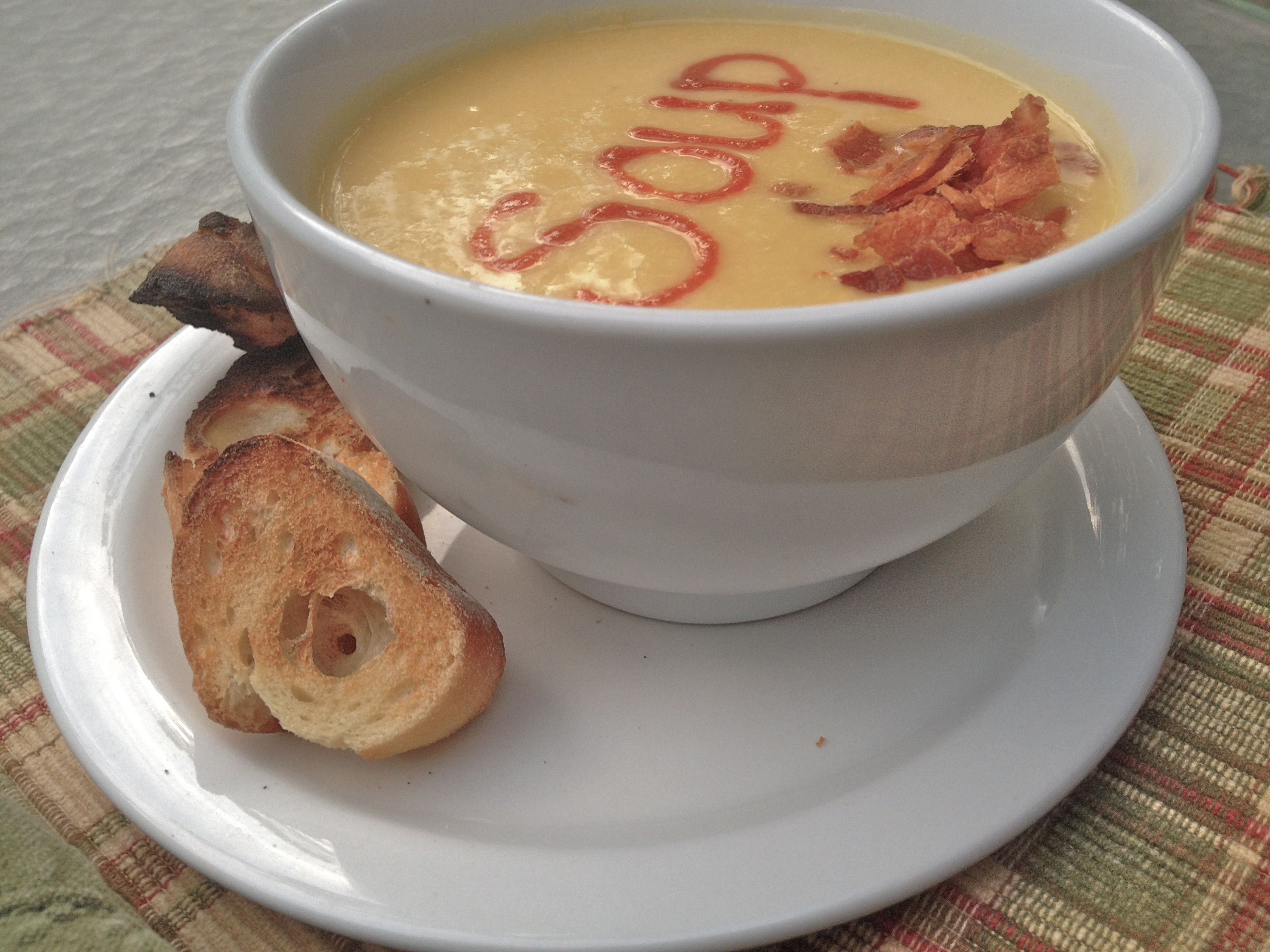 soup with a touch of bacon and side of toast for the boy - cauliflower soup