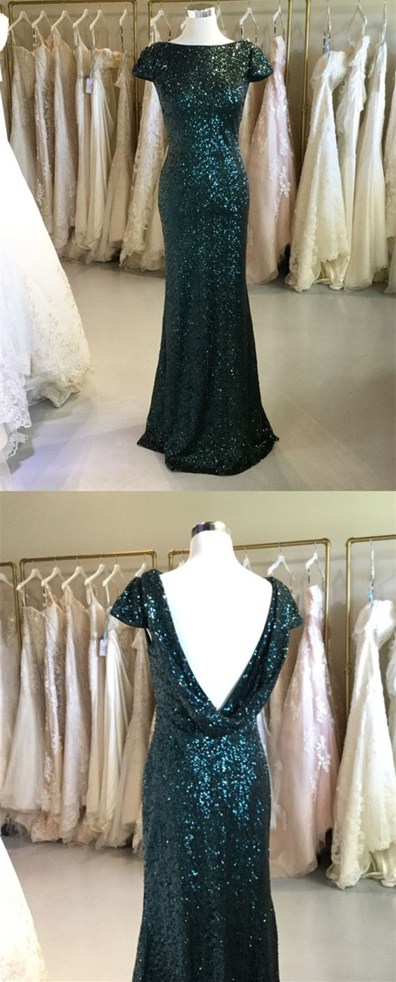 Cap Sleeves Bridesmaid Dress Sequin Emerald Green Sparkly Dresses