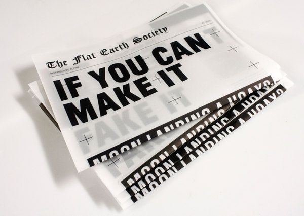 If You Cant Make It Fake It by Jason Ngai. Tracing paper in a newspaper tabloid format. An interesting approach to representing information, may consider something similar.