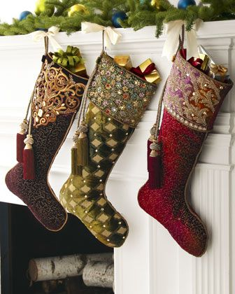 59eebb865 Hand-Painted Velvet Christmas Stockings An elegant Christmas tree skirt and  elaborate stockings add an opulent touch to Christmas decor.