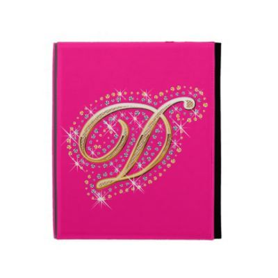 Pink iPad Folio Case with Initial D