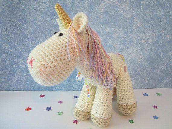 stuffed unicorn horse  crochet unicorn plush  amigurumi unicorn  stuffed animal by croriginals