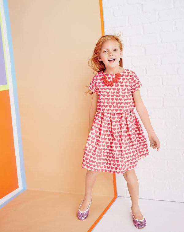 4c9da89e6171 J.Crew girls' tiered dress in neon hearts, petal necklace and classic  glitter ballet flats. To pre-order, call 800 261 7422 or email ...