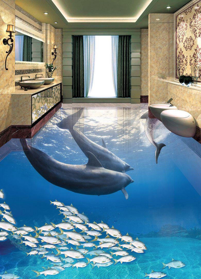 Vinyle Adhésif Pour Sol revêtement sol 3d résine salle de bain paysage fond marin