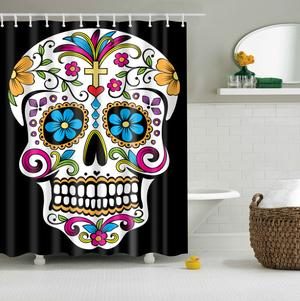 Floral Gothic Skull Print Curtains Waterproof Bathroom Curtains Polyester 180x180cm Decoration With Hooks Shower Curtain Art Skull Shower Curtain Sugar Skull Shower Curtain