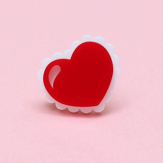 Bague Sweet Heart En Acrylique Coeur Rouge Et Blanc Par Juleetlily