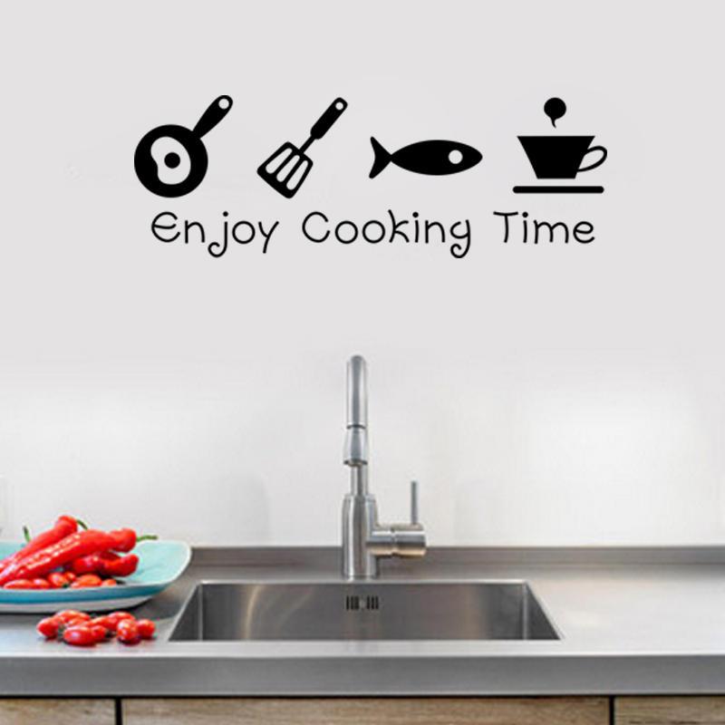 Us 3 48 Cartoon Enjoy Cooking Time Kitchen Wall Sticker Pvc Mural