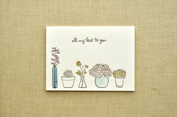 all my best to you, a hand printed & painted card.