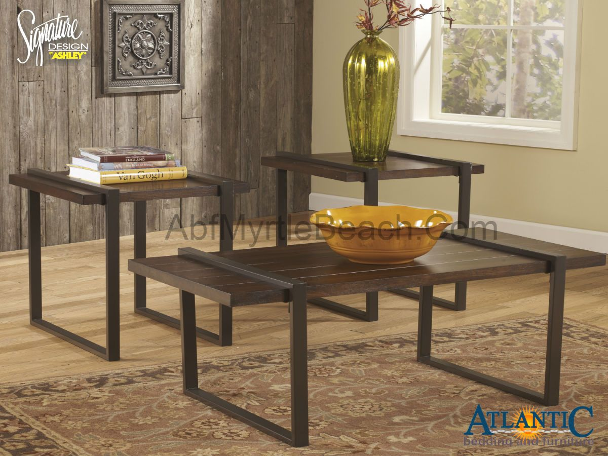 The Ashley T164 13 Salyersville Vintage Casual 3pc Table Set Brings The Elements Of Steel And Plank Coffee Table Marble Coffee Table Set Coffee Table Setting