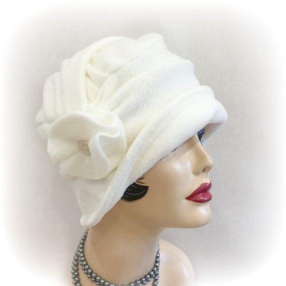 Cream Fleece Cloche Flapper Style Cloche 20\'s Vintage | Cloche Hat ...