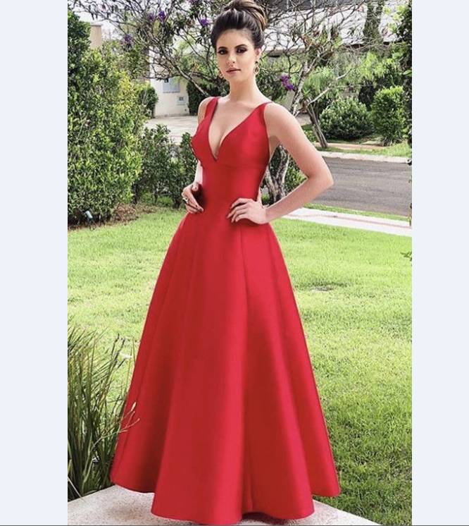 Long Cheap Red Satin V-neck Bridesmaid Dresses. red bridesmaid dresses red  prom dress red evening gowns red formal dresses f16b36b01e08