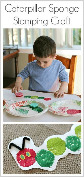 The Very Hungry Caterpillar Craft Using Sponge Painting #toddlers