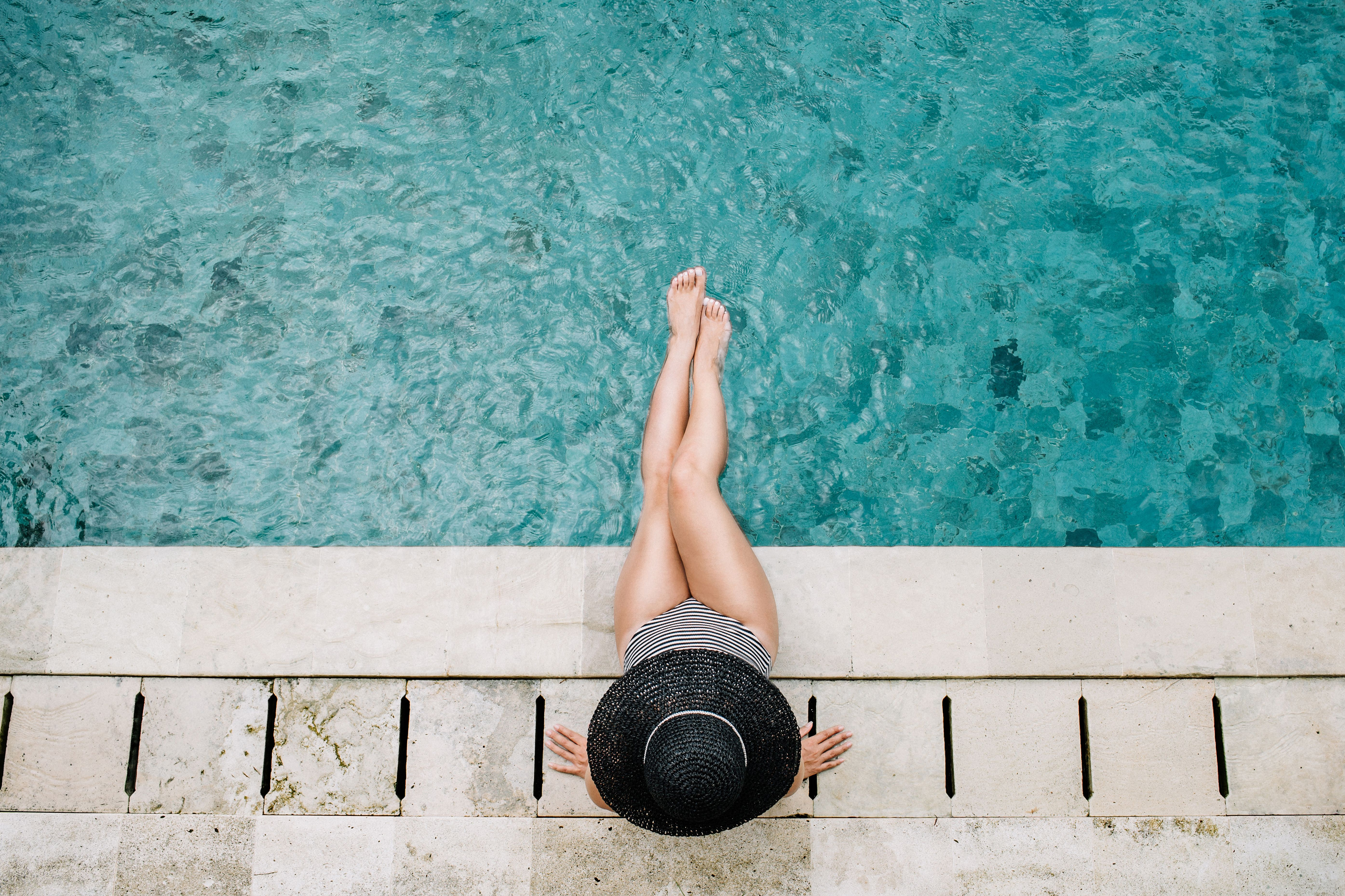 Young Woman In Hat Relaxing Near Swimming Pool Top View Hats For Women Swimming Pools Top View