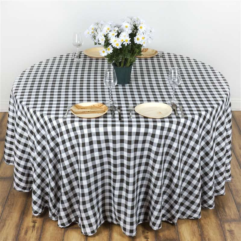 Buffalo plaid tablecloth 70 round whiteblack