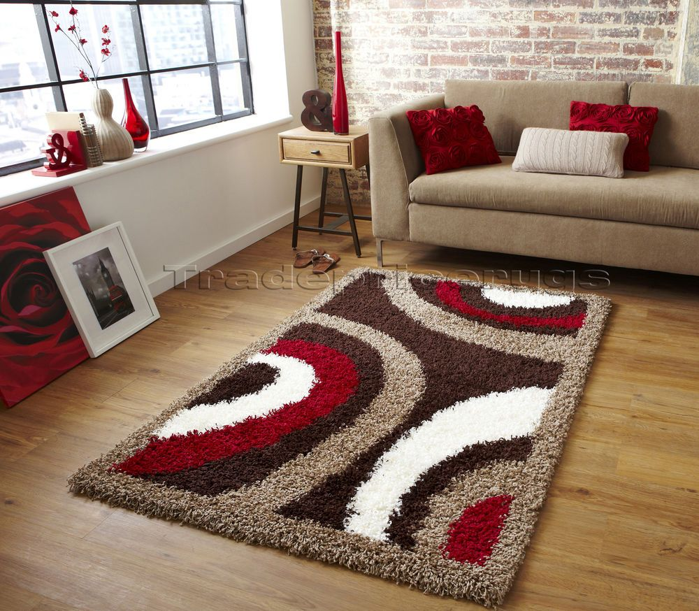Small Extra Large Brown Cream Beige Red Modern Pattern Thick