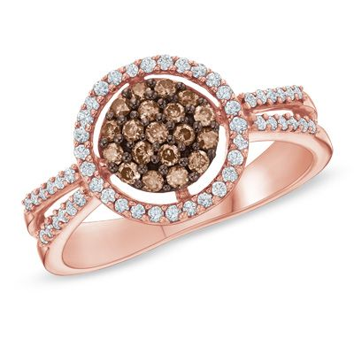 12 CT TW Champagne and White Diamond Frame Ring in 10K Rose Gold
