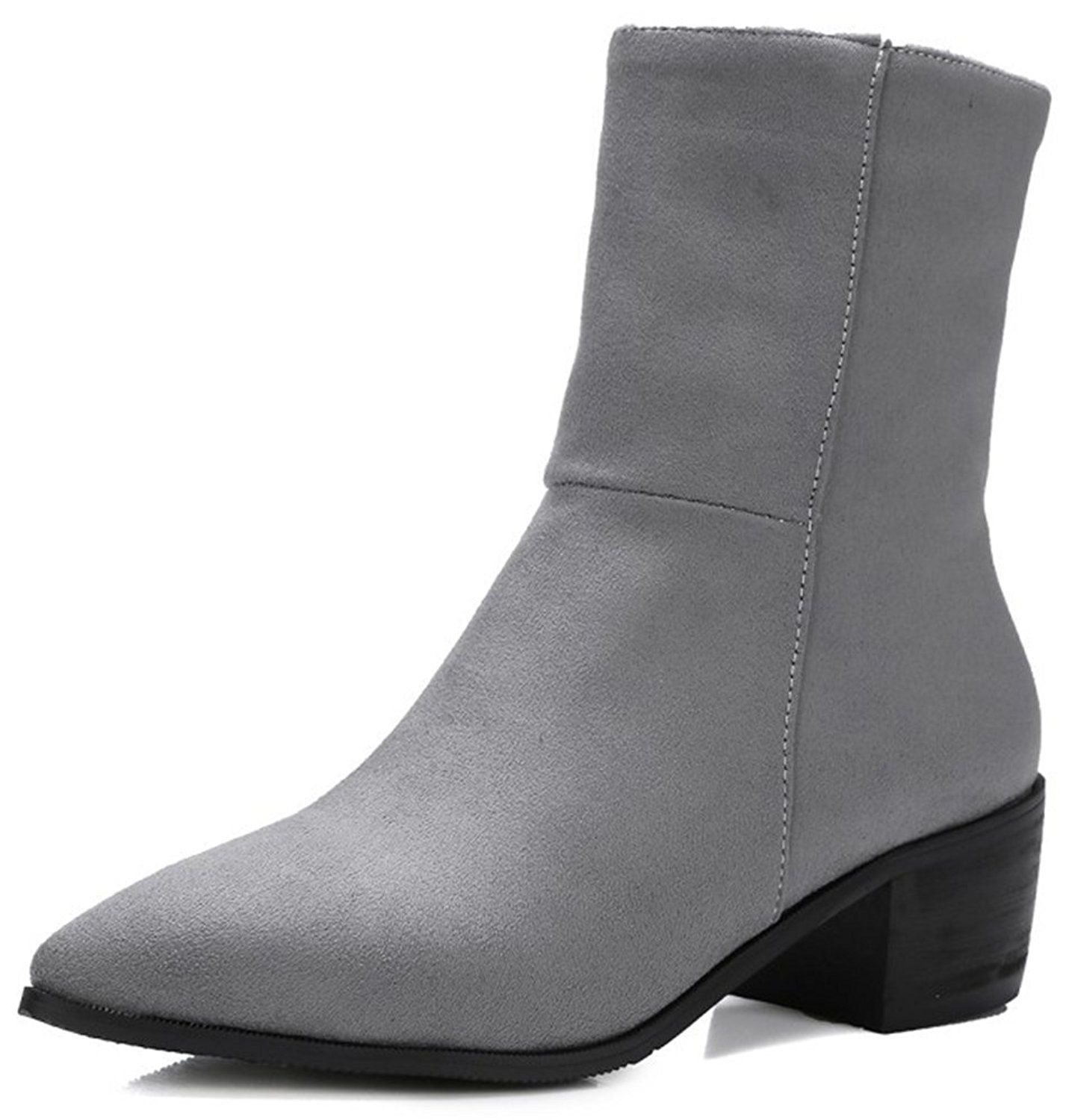 Women's Sexy Faux Suede Plain Pointed Toe Club Booties Side Zipper Block Mid Heel Ankle Boots Shoes