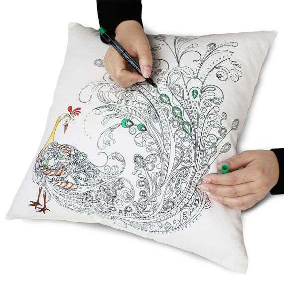 Image result for Zanza Cotton DIY Graffiti Pillow Case Coloring Decorative Cushion Cover Peacock Pattern Square 18 45cm*45cm