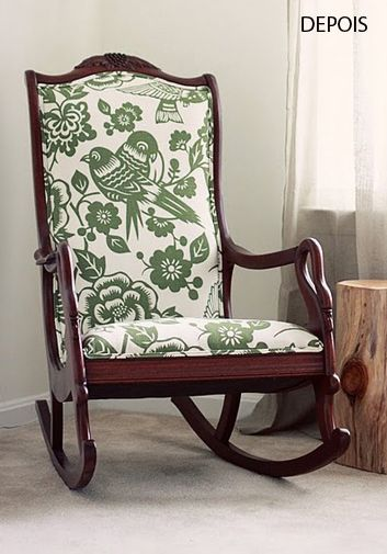 antique rocker with modern fabric inspiration nursery. Black Bedroom Furniture Sets. Home Design Ideas