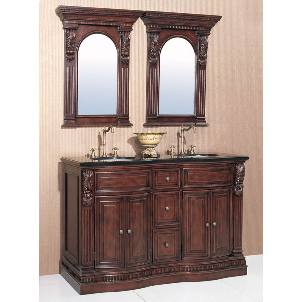 Legion Furniture Granite Top 60 Inch Double Sink Bathroom Vanity With A  Pair Of Matching