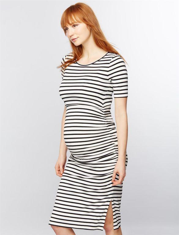 Isabella Oliver Nia Maternity Dress, Black White Stripe Maternity - baby shower nia