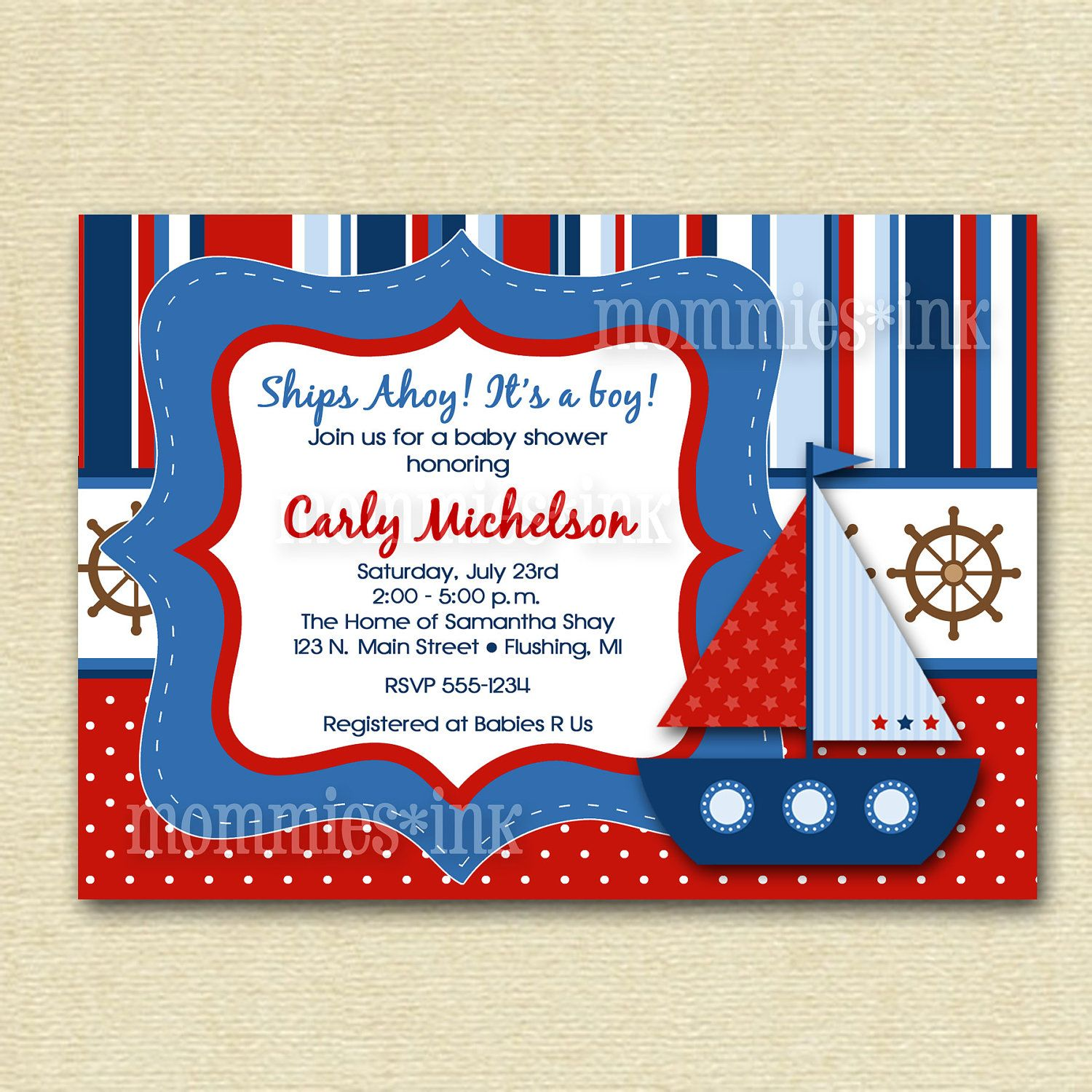 Great Mod Bright Sailboat Baby Shower Invitation   Sailboat Invite   Nautical  Invite   Ships Ahoy   Digital File   PRINTABLE INVITATION DESIGN