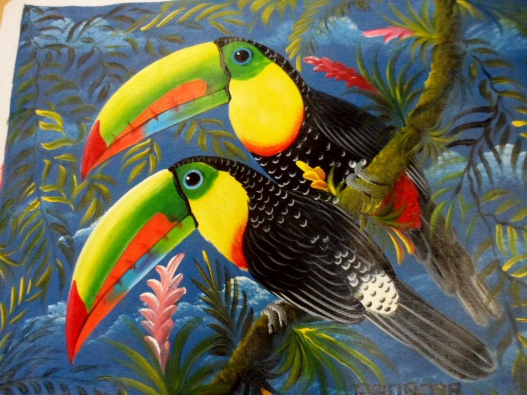 Rainforest Animal Painting Toucan Parrot Panama 3 95818