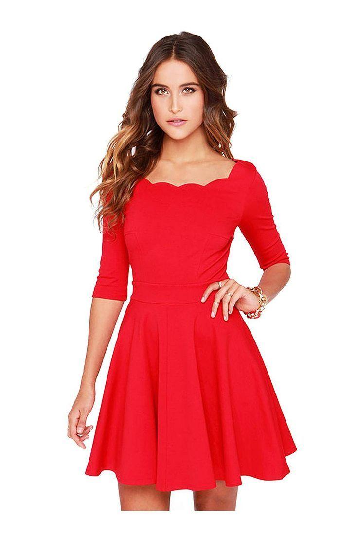 Red scallop skater dress itus a catwalk pinterest clothes