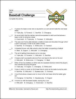 Baseball printables -- worksheets related to the national ...