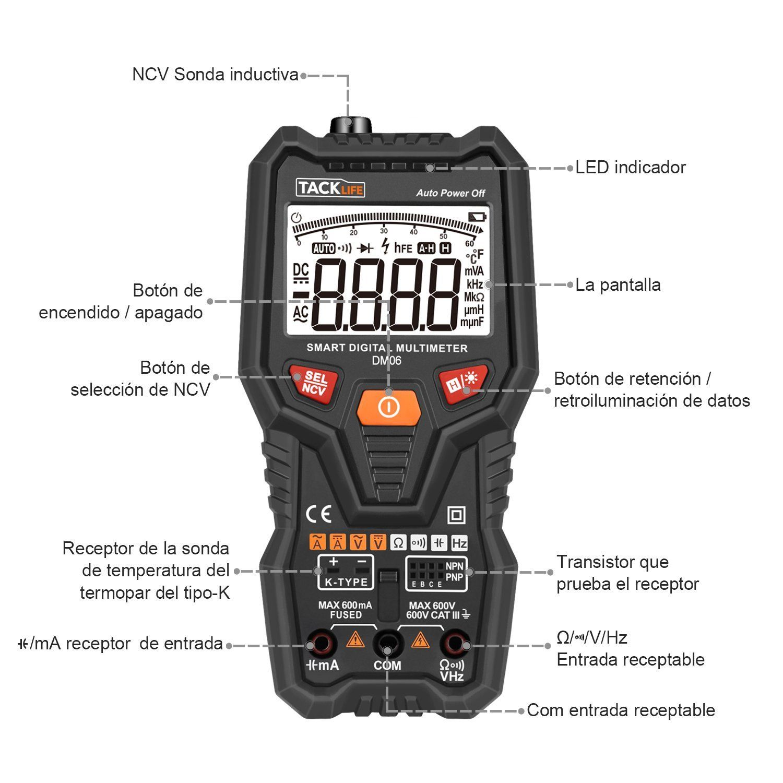 Tacklife Dm06 Multmetro Digital Completo Inteligente Y Automatico Cleaner Circuit Diagram On Ultrasonic Diagrams For Generator Polimetro 6000 Counts