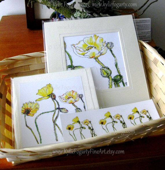 Yellow Poppy Gift Set Botanical Art Matted by KylieFogartyFineArt, $22.00