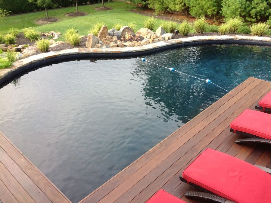 Amazing Enchanting Swimming Pool Cantilever Deck With Natural Stone Fire Pit Ideas  Also Swimming Pools Wooden Decks From Pool Tiles, Pool Decks, Pool Coping