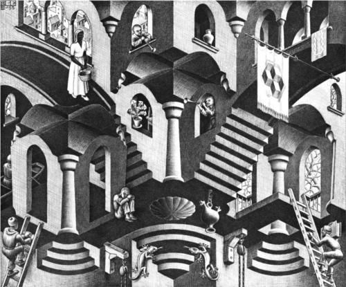 M.C. Escher 'Concave and Convex' 1955 Jigsaw Puzzle by Pomegranate