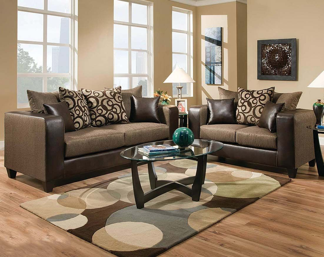 Two-Toned Brown, Tan Couch Set