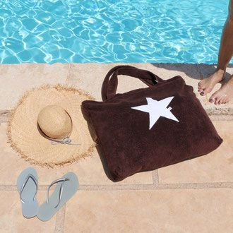 byrh beach bag braun strandtasche mit stern am pool ibiza mykonos mallorca beach bags. Black Bedroom Furniture Sets. Home Design Ideas