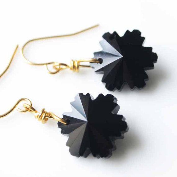 Black snowflake earrings black crystal snowflake by tinarosa, $0.20
